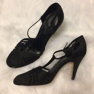 Nine West T-Strap Black Satin Heels